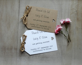 Personalised Pencil Us In Wedding Save The Date Evening Vintage/Shabby Chic Rustic Luggage Tags Heart