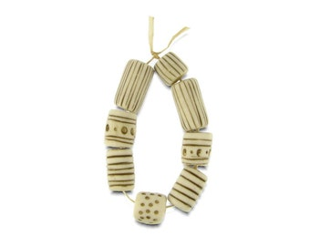 Dots and Stripes Porcelain Beads Brown and White Porcelain Handmade in South Africa