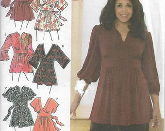 Simplicity 3697 Size 18W-20W-22W-24W Bust 40-42-44-46 Khaliah Ali Collection Women's Knit and Woven Tunics Sewing Pattern 2007 Uncut