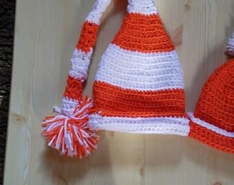 Orange/White Infant CrochetHat