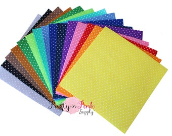 "Polka Dot 11.5"" x 12"" Felt Sheets- Felt Fabric Sheet - Crafting Felt - Woven Polyester Felt- You Choose Colors and Quantity"