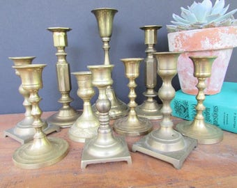 10 Brass Candlesticks Vintage Candle Holders Collection of 10