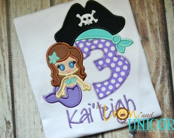 Purple Pirate Mermaid Birthday Shirt - Number can be changed - Name added for FREE