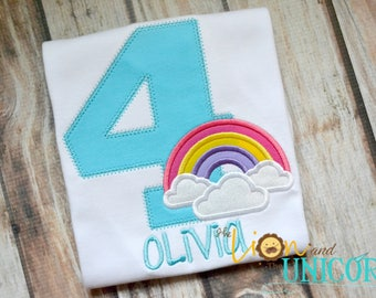 Rainbow Birthday Shirt - Number can be changed - Name added for FREE
