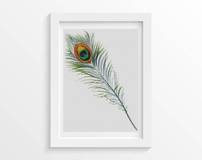 Mini Cross Stitch Pattern PDF, Embroidery Chart, Art Cross Stitch, Peacock Feather ( (TAS046)