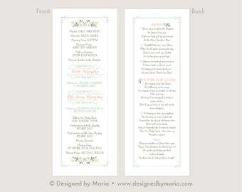 LDS Baptism Program Girl - Customize for 1 or 2 Girls - Tall format with Song Lyrics on Back - Front & Back set up on 8.5 x 11 color file