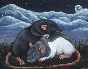 Rats Under The Moonlit Sky - Stretched Canvas Acrylic Original Art