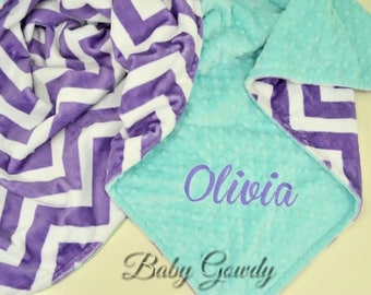 SALE - Personalized Minky Baby Blanket - Jewel Chevron Minky - Minky Dimple Dot - Custom Baby Blanket- Monogram