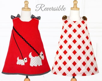 Childrens Sewing Patterns, Girls Dress Pattern PDF, Reversible Dress, Top Pattern, Girls Sewing Pattern pdf, Jumper Dress, SCOTTIE