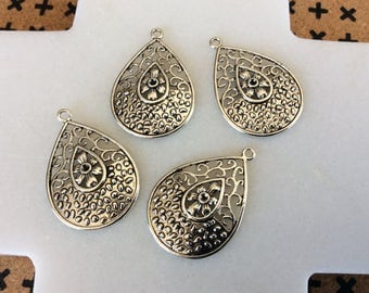 Antique silver hollow flower charm teardrop pendants