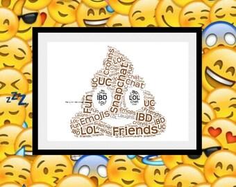 Poo Print, Personalised Poo Print, Poop Emoji Print, Poo Emoji Print, Poo Word Art, Poop Word Art, Emoji Gift, Poop Gift, Personalised Print