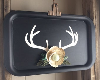 Chalkboard Sign with Antlers and Felt Flowers, Vintage Style Home Decor, Farmhouse Style