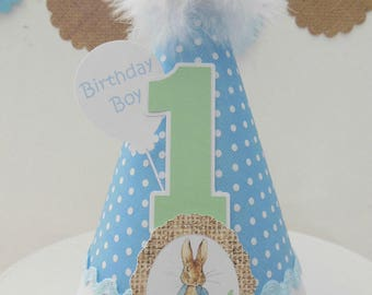 Peter Rabbit Birthday Party Hat - My First Easter  - Blue and White Polka Dot, Burlap, Mint Green - Personalized