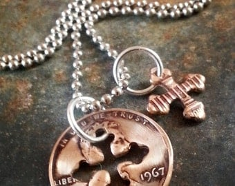 50th Birthday 1967 Penny Cross Necklace 50th Birthday Gift 50th Anniversary Coin Jewelry made from a 1967 Penny Gift for Women