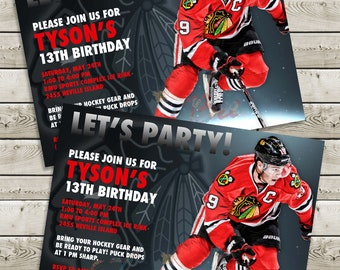 Jonathan Toews - Chicago Blackhawks Invitation - Printable / Customizable