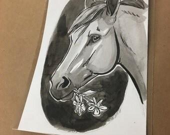 "Digital Print of horse illustration, 5x7"""