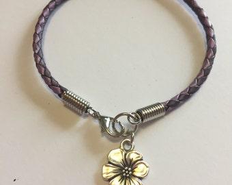 Apple Blossom Braided Leather Charm Bracelet