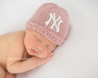 NY Yankees Baby Hat, Pink Newborn Yankees Beanie, Knit NY Yankees Baby Girl Hat, Great Photography Prop