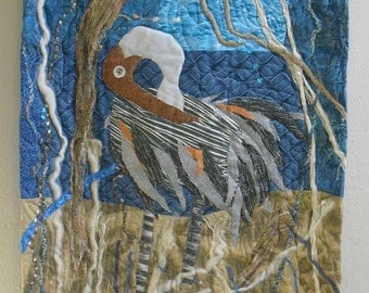 Contemporary Fiber Art Wall Hanging,art quilt,OOAK,blue and brown background for a pelican