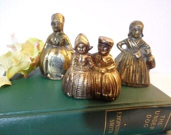 Collection of Vintage Solid Brass Lady Bells - Dutch Boy and Girl Bells -  Set of 3 - Dinner Bells - Figural Bells - Hand Bell - Desk Bells