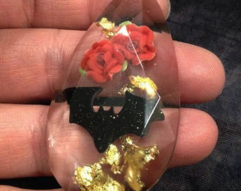 Jewel Necklace with gold leaf, tiny polymer clay bats and red roses