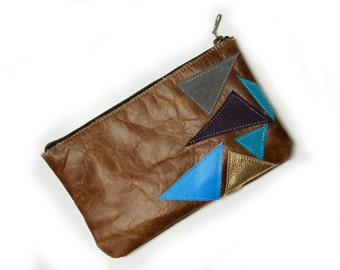 Leather Clutch with Applique  Patchwork  READY TO SHIP