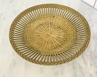 Brass Bowl, Basketweave Bowl, Vintage Brass Bowl, Made in India, Brass Decor, Pierced Brass Bowl