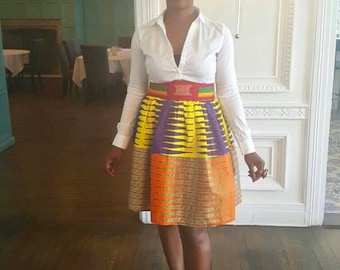 Multi-print/mix print high-waist skirt