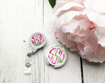 Lilly Inspired Monogram Badge Reel & Stethoscope ID Cover Duo