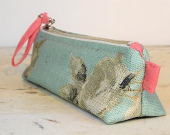 pencil case - cosmetic case, bag - purse - wallet - zipper pouch - for women - pastel turquoise - rose