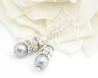 Grey Pearl Drop Earrings, Crystal Dangles, Bridesmaid Jewellery, Bridal Party Gifts, Silver Grey Wedding, Rhinestone Drop Earrings