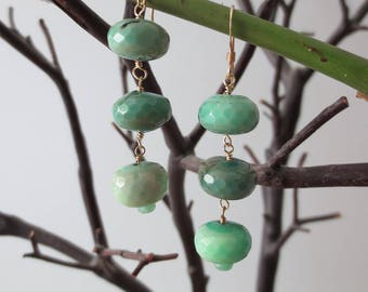 Chrysoprase earrings, Chrysoprase dangle earrings, Chrysoprase drop earrings, Chrysoprase earrings gold
