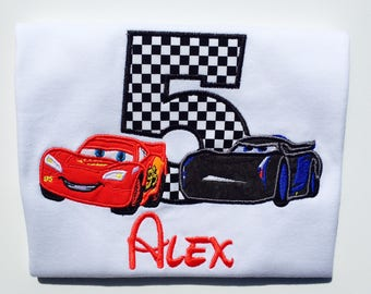 CARS Personalized Embroidered Birthday T-shirt