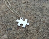 Personalized Petite Small Silver Puzzle Piece Necklace