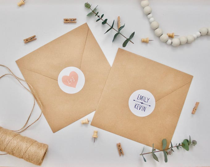 CUSTOM Stickers - Personalised Wedding Envelope Stickers - Gloss - Arrows/Heart 51mm diameter Envelope Seals Wedding Favours Favors Initials