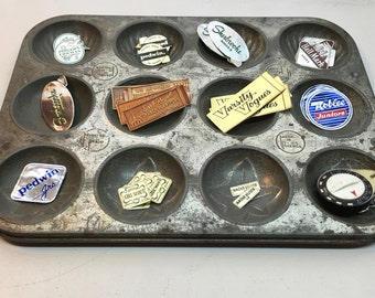 Vintage Muffin Tin Pan Candy Mold Tray with 12 Slots and Perfect Aged Patina. Minute Maid.