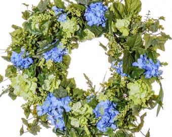 Blue and Green Hydrangea Wreath (SW912)