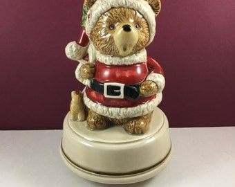 Vintage Otagiri Christmas Teddy Bear Musical Figurine - Santa Claus is Coming to Town - Christmas in July Musical Bear Figurine