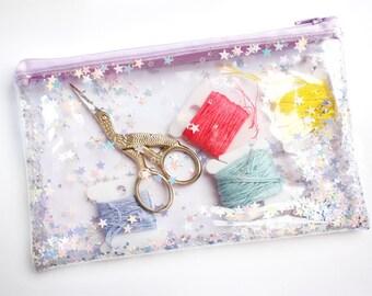 Lilac star / Pencil case, Transparent wallet, Clear bag, Purse organizer, glitter bag