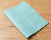 Handmade Leather Traveler's Notebook, Midori style in A5 size - Worn Turquoise