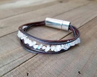 Rainbow moonstone bracelet - moonstone bracelet - moonstone jewelry - moonstone gifts - leather bracelet - leather and stone - moonstone