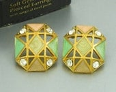 1992 Vintage Avon 'Soft Geometrics' Enamel Pierced Earrings/ Original Box. Pastel Enamel Earring. Vintage Avon Earring. Vintage Avon Jewelry