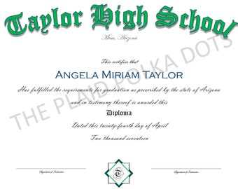Homeschool Diploma, High School Certificate of Graduation, Custom, Home School