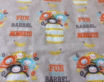 More Fun than a Barrel Full of Monkeys, flannel baby blanket
