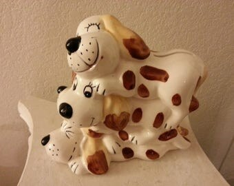 Ceramic Stack of Dogs Coin Bank