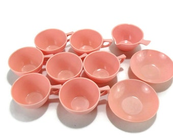 Vintage Melamine Dinnerware * Pink Sun-Valley Melmac Cups Bowls and Creamer* Set of 10