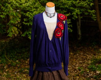 Upcycled Clothing, Boho Altered Large Sweater for Women, Gypsy Clothing, Refashioned Clothing, Embellished Top, Bohemian Clothing, Size XL
