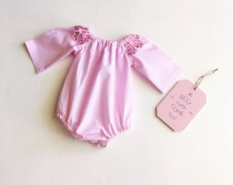 Pink Spotty Long Sleeve Romper