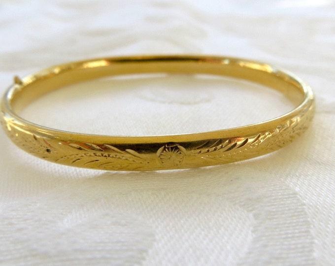Baby Bangle Bracelet, Vintage Gold Filled, Etched Baby Bracelet, Christening, New Baby Gift