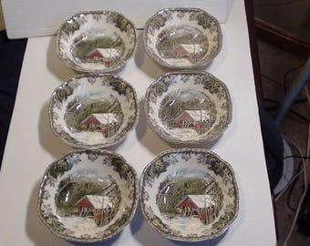 """Six Vintage Johnson Bros The Friendly Village Collection Cereal Bowls Named """"The Covered Bridge"""" Hand Engraved Made In England"""